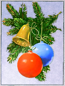 christmas tree ornaments stylized back