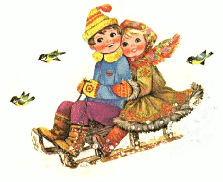 christmas boy n girl sleighing