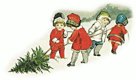 christmas kids dragging tree