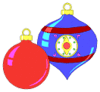 christmas Christmas ornaments red blue shiny small clip art