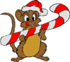christmas Mouse Candy Cane clip art
