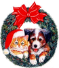 christmas cat dog wreath clip art