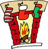 christmas fireplace stockings clip art