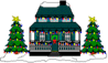 christmas house decorated clip art