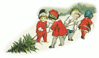 christmas kids dragging tree clip art