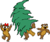 christmas tree bears clip art