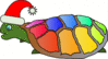 christmas turtle with santa hat clip art