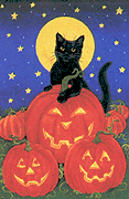 Halloween black cat pumpkins