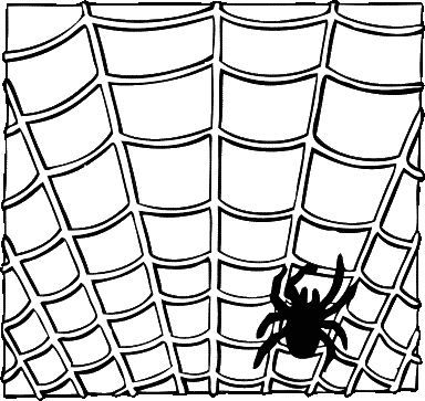 Halloween spider on a web BW