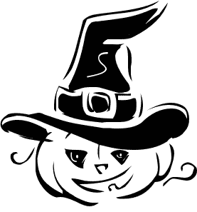 Halloween witch capped pumpkin