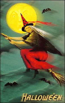 Halloween witch flying