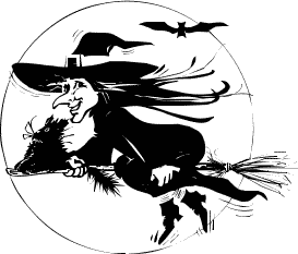 Halloween witch on broom 06