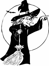 Halloween witch on broom 07