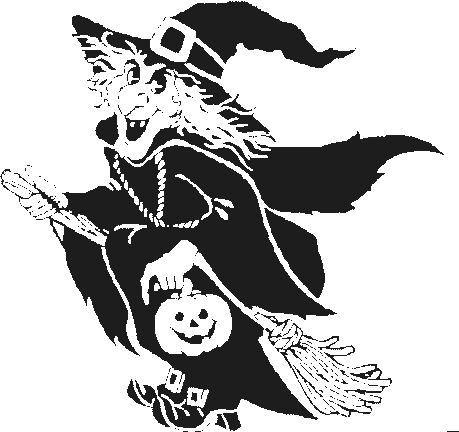 Halloween witch flying left