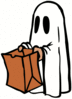 Halloween ghost with bag clip art