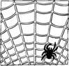 Halloween spider on a web BW clip art