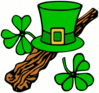 saint patricks day Hat and shillelagh colour clip art