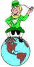 saint patricks day Leprechaun on World clip art