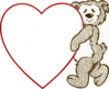 valentine bear heart note clip art