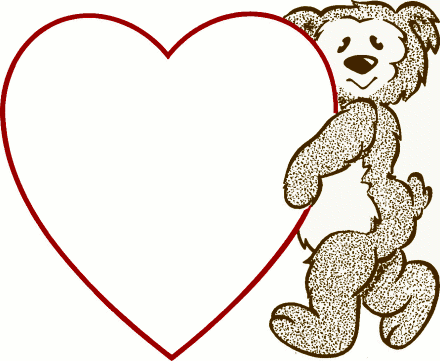 valentine bear heart note