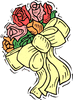 wedding bouquet w yellow ribbon clip art