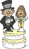 wedding bride groom on cake clip art
