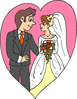 wedding couple in heart clip art