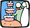 wedding cut the cake icon clip art