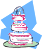 wedding wedding cake w pink and blue clip art