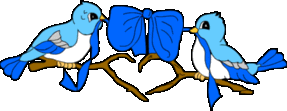 wedding Birds blue ribbon