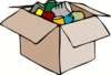 cardboard box with empty cans clip art