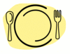 dinner plate with spoon and fork clip art