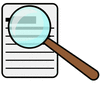 magnifying glass over document clip art