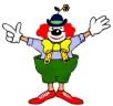 Clown smiling small clown