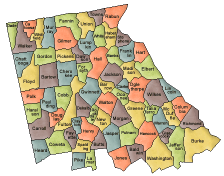 US State Counties Georgia northern