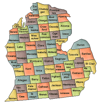 US State Counties Michigan