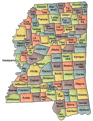 US State Counties Mississippi