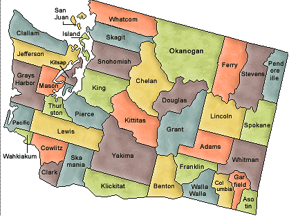 US State Counties Washington