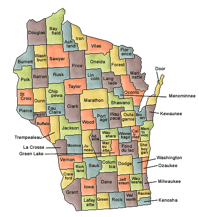 US State Counties Wisconsin