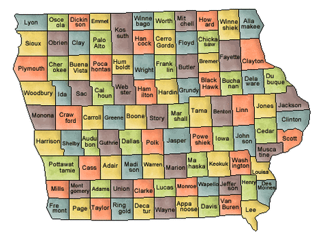 US State Counties Iowa