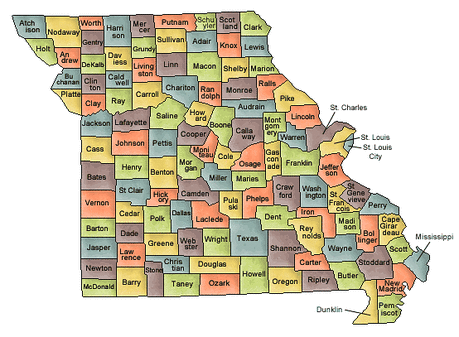 US State Counties Missouri