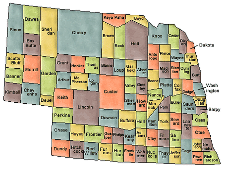 US State Counties Nebraska