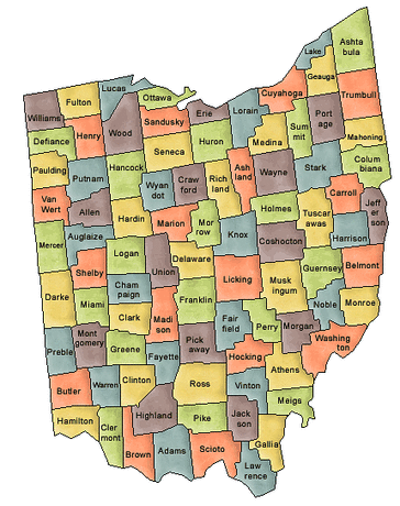 US State Counties Ohio
