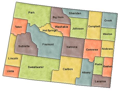 US State Counties Wyoming