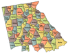 US State Counties Georgia northern clip art