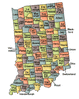 US State Counties Indiana clip art