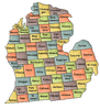 US State Counties Michigan clip art