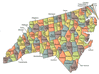 US State Counties North Carolina clip art