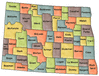 US State Counties North Dakota clip art
