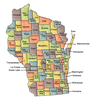 US State Counties Wisconsin clip art